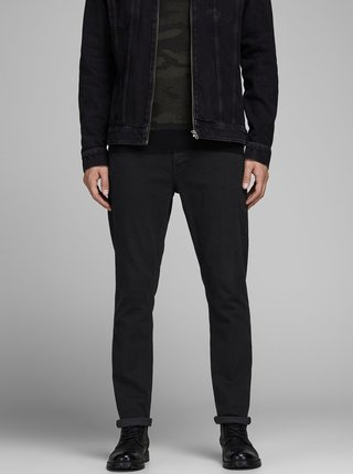 Blugi negri slim din denim Jack & Jones Glenn