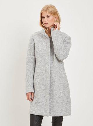Světle šedý vlněný kabát VILA Lanis