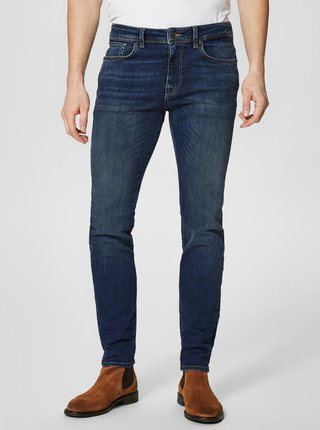 Modré slim fit rifle Selected Homme Leon