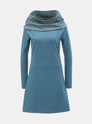 Svetlomodré šaty s dlhým rukávom a vzorovaným golierom Tranquillo Thallo
