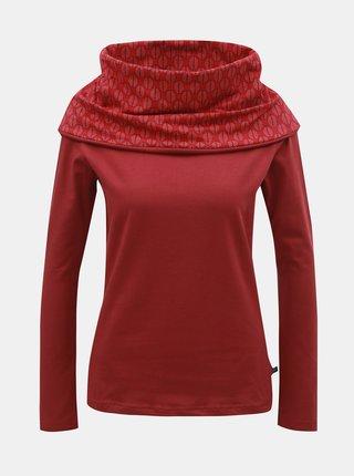 Červené vzorované tričko s dlouhým rukávem a límcem Tranquillo Caiva