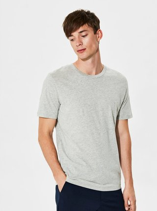 Tricou basic gri melanj din bumbac Pima Selected Homme The Perfect