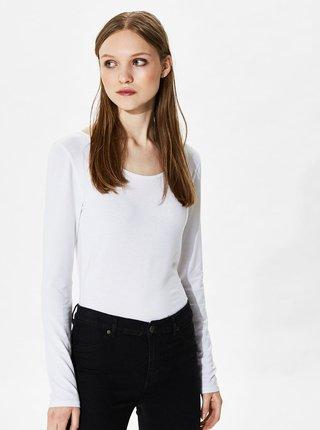 Bluza basic alba cu decolteu rotund Selected Femme Mio