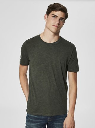 Tricou kaki melanj Selected Homme The Perfect