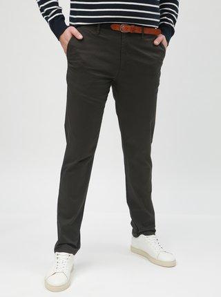 Khaki vzorované slim chino kalhoty Selected Homme Yard