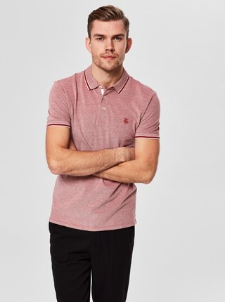 Tricou polo rosu melanj Selected Homme Twist