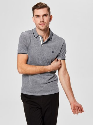 Tricou polo gri melanj Selected Homme Twist