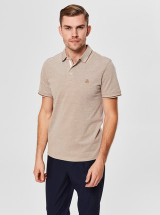 Tricou polo bej melanj Selected Homme Twist
