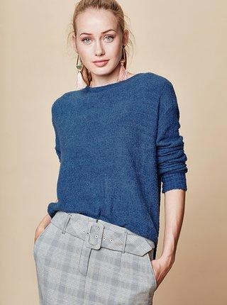 Modrý voľný sveter s okrúhlym výstrihom touch me. Pocahontas Vibe