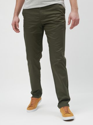 Khaki slim fit chino kalhoty s páskem Selected Homme Yard