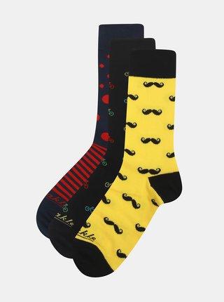 Sada tří párů unisex ponožek v černé a žluté barvě a v dárkové krabičce Fusakle Bestseller