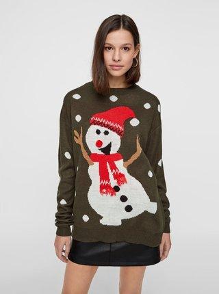 Khaki svetr s motivem sněhuláka VERO MODA Snow