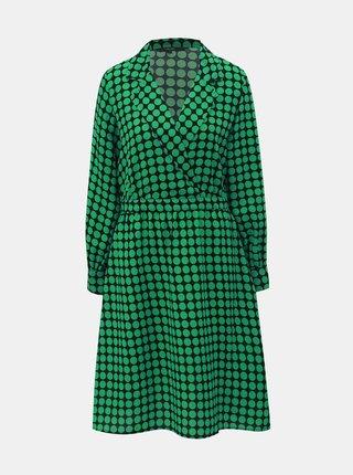 Čierno–zelené bodkované šaty s prekladaným výstrihom VERO MODA Sarah