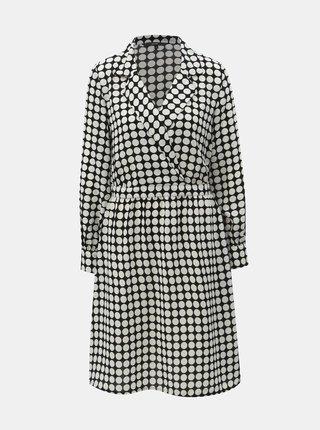 Čierno–biele bodkované šaty s prekladaným výstrihom VERO MODA Sarah
