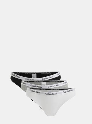Set de 3 chiloti alb, gri si negru Calvin Klein Underwear