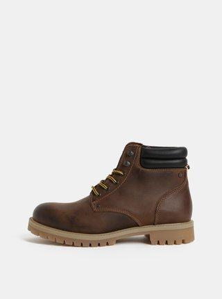 Hnedé kožené členkové topánky Jack & Jones Stoke
