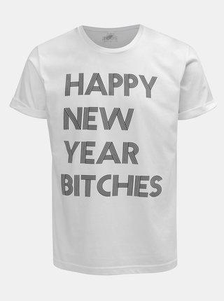 Biele pánske tričko s potlačou ZOOT Original Happy New Year Bitches