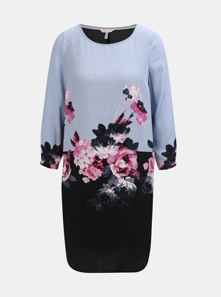 Rochie negru-albastru florala de dama cu maneci 3/4 Tom Joule