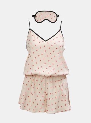 Kolekcia vzorovaného pyžamkového overalu a škrabošky v svetloružovej farbe DKNY