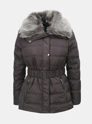 Jacheta gri de iarna cu guler detasabil din blana artificiala Dorothy Perkins