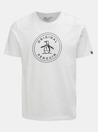 Tricou alb cu imprimeu Original Penguin