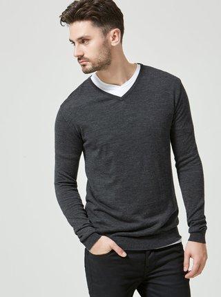 Sivý sveter z Merino vlny Selected Homme Tower