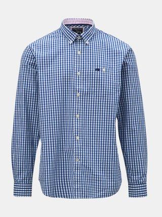 Bielo–modrá kockovaná košeľa s dlhým rukávom Raging Bull