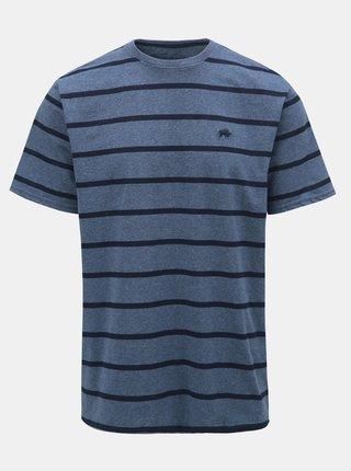 Tmavomodré pruhované tričko s krátkym rukávom Raging Bull