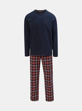 Dvojdielne pánske pyžamo v tmavomodrej a vínovej farbe Tommy Hilfiger