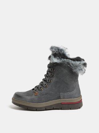 Šedé dámské semišové kotníkové boty s vnitřním umělým kožíškem Weinbrenner