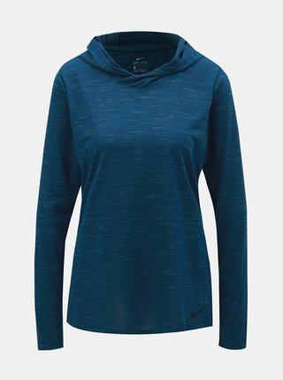 Modré dámske melírované tričko s dlhým rukávom a kapucňou Nike
