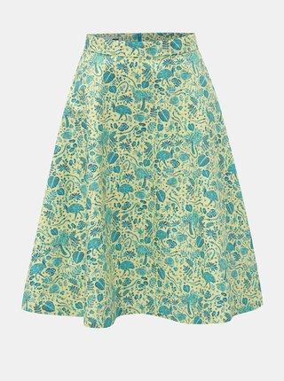 Modro-zelená sukně s motivem listů annanemone