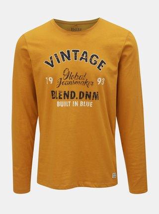 Horčicové tričko s nápisom Blend