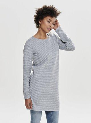 Svetlosivé melírované mikinové rebrované šaty s dlhým rukávom ONLY Naomi