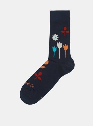 Tmavě modré květované ponožky Fusakle Na lúke