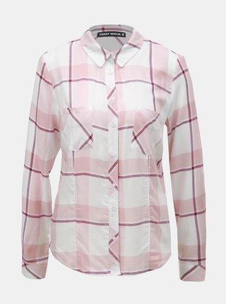 Camasa alb-roz in carouri cu buzunare la piept TALLY WEiJL