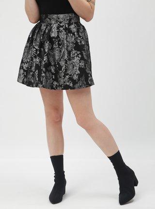Stříbrno-černá květovaná sukně TALLY WEiJL