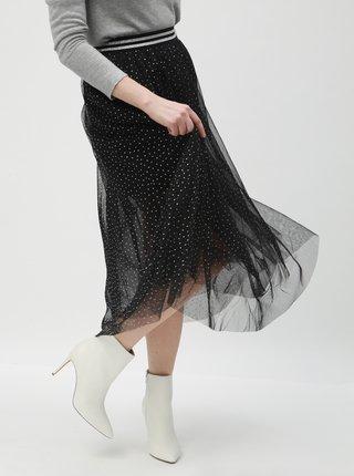 Stříbrno-černá puntíkovaná midi sukně TALLY WEiJL