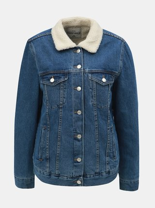 Modrá džínová bunda s umělým vnitřním kožíškem TALLY WEiJL