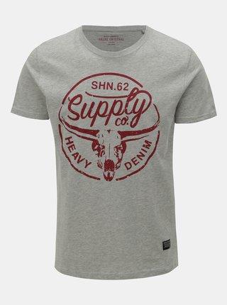Svetlosivé melírovaní tričko s potlačou Shine Original Heritage