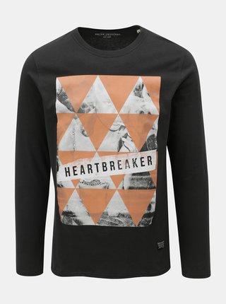Tmavosivé tričko s dlhým rukávom a potlačou Shine Original Breaker