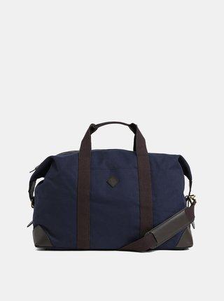Hnedo–modrá cestovná taška s koženými detailmi GANT