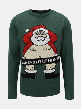 Pulover verde inchis cu motiv Santa Claus Shine Original Xmas