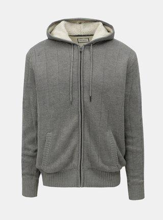 Šedý svetr na zip s kapucí a umělým kožíškem Shine Original Boa