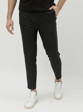Tmavosivé skrátené chino nohavice s vreckami na zips Lindbergh