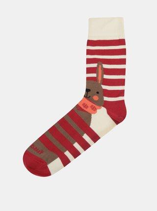 Krémovo-červené ponožky Fusakle Jen počkej, zajíci