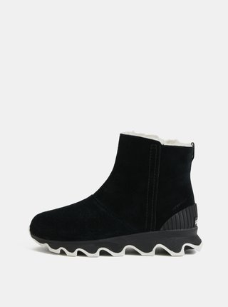 Černé dámské zimní kotníkové voděodolné boty v semišové úpravě SOREL Kinetic