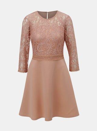 Svetloružové šaty s čipkovaným topom Dorothy Perkins