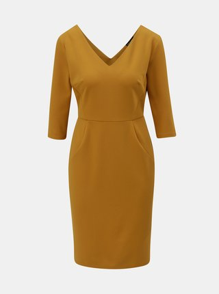 Hořčicové šaty s 3/4 rukávem Dorothy Perkins