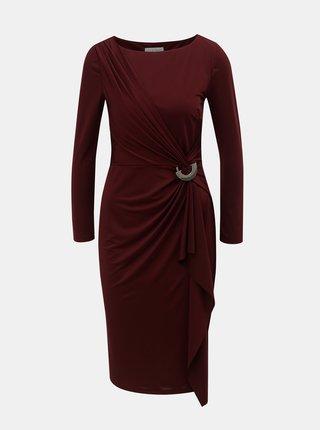 Vínové šaty s volánem s kovovou ozdobou Lily & Franc by Dorothy Perkins